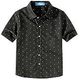 SSLR Big Boy's Prints Cotton Button Down Casual Short Sleeve Shirt (Large(14-16), Black)