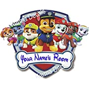 Your name Paw patrol shield Rocky | Rubble | Zuma | Everest firedog Marshall, police pup Chase, and fearless Skye Movie 3D Wall Decal Sticker