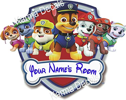 Your Name Paw Patrol Shield Rocky Rubble Zuma Everest Firedog Marshall Police Pup Chase And Fearless Skye Movie 3d Wall Decal Sticker
