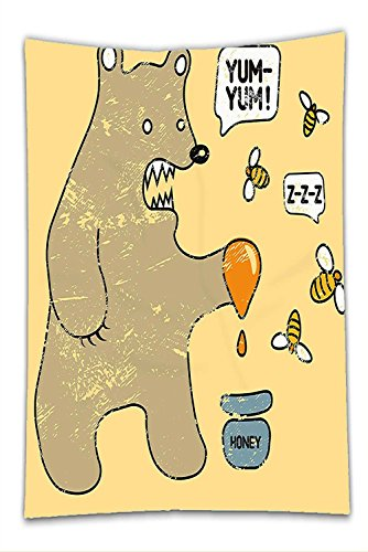 Nalahome Fleece Throw Blanket Cartoon Cute Caricature Style Bear with Bees and Honey Saying Yum Yum Kids Comic Graphic Taupe Yellow - Pot Of Honey Infant Costume