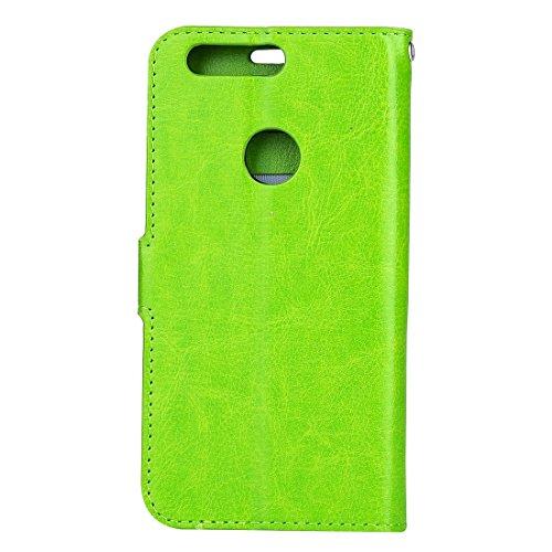 Mobile Phone Cases&decorate Huawei Honor 8 Crazy Horse textura horizontal Flip caja de cuero con hebilla magnética y titular y ranuras para tarjetas y marco de la carpeta y de la foto ( Color : Blue ) Green