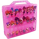 Bins & Things Toys Organizer Storage Case with 48 Compartments Compatible with LOL Surprise Dolls, LPS Figures, Shopkins and Lego Dimensions (Pink)