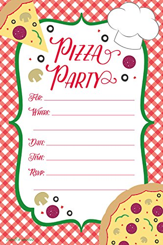 Pizza Party Invitations - Fill In Style (20 Count) With Envelopes