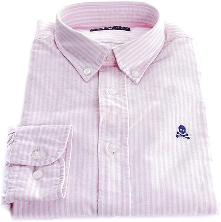 Scalpers NOS Button Down Shirt Camisa, Pink Stripes, 43 para ...