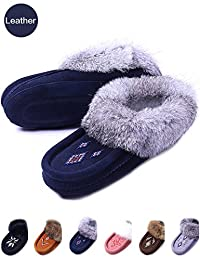 Women Moccasin House Slippers,Genuine Suede Leather, Warm Fleece Lined, Slip-On Soft Leather Sole, Rabbit Fur Collar,Winter Warm Indoor Slippers Fashion …