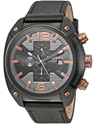 Diesel Mens Overflow Quartz Stainless Steel and Leather Casual Watch, Color:Black (Model: DZ4462)