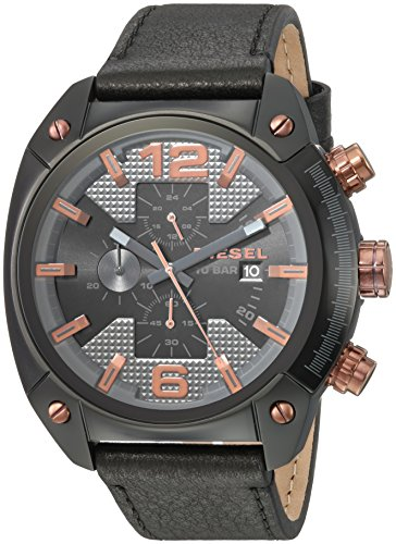 Diesel Men's 'Overflow' Quartz Stainless Steel and Leather Casual Watch, Color:Black (Model: DZ4462)