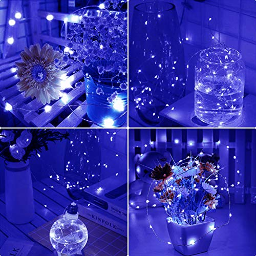 Fairy Lights for Girls Bedroom,Cshare 50 LEDs 5m/16.4ft Battery Operated Fairy Lights Flexible Silver Wire Lights for Wall,Wedding,Birthday,Party,Christmas,Tent,Holiday,Jars,Decoration.(Blue)