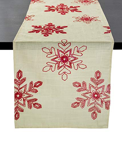 Fennco Styles Holiday Nivalis Collection Snowflake Design Table Runner - 3 Colors - 16