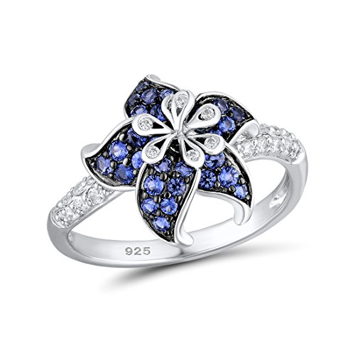 Santuzza 925 Sterling Silver Star Flower Ring with Simulated Sapphire Color CZ Stones (8)