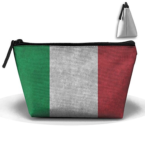 (UEYYP Vintage Italian Flag Women's Cute Zippered Makeup Bag Large Trapezoidal Cosmetic Travel Bag Portable Pouch Multifunction Toiletries Organizer Bag)