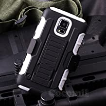 Galaxy S5 Active Case, Cocomii Robot Armor NEW [Heavy Duty] Premium Belt Clip Holster Kickstand Shockproof Hard Bumper Shell [Military Defender] Full Body Dual Layer Rugged Cover Samsung G870 (White)