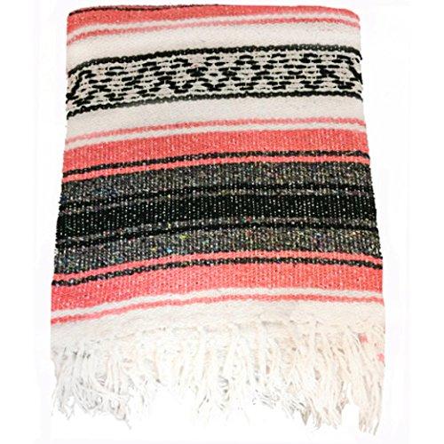 - El Molcajete Brand Traditional Mexican Yoga Blanket Serape Coral