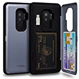 TORU CX PRO Galaxy S9 Plus Wallet Case Blue with Hidden Credit Card Holder ID Slot Hard Cover, Mirror & USB Adapter for Samsung Galaxy S9 Plus - Orchid Gray
