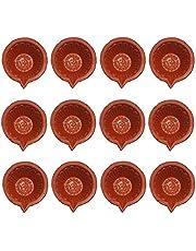 Amroha Crafts 12 Pcs Diya Set of Clay/Terracotta Handmade Diya for Diwali/Deepawali Gift/Decorations/Natural Earthen Oil Lamp/Traditional Diyas for Pooja with Cotton Wicks Battis