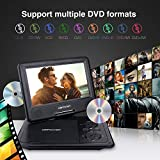 """DBPOWER 9.5"""" Portable DVD Player with Swivel Screen, 5-Hour Built-in Rechargeable Battery, Support CD/DVD/SD Card/USB, with Car Charger and Power Adaptor (Black)"""