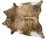 Cheap ecowhides Brindle Brazilian Cowhide Area Rug, Cowskin Leather Hide for Home Living Room (Large) 6 x 6 ft