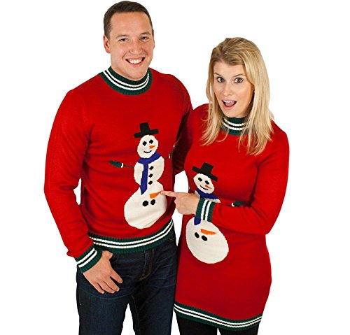 Ugly Christmas Sweater - Excited Snowman Naughty Holiday Sweater By Festified