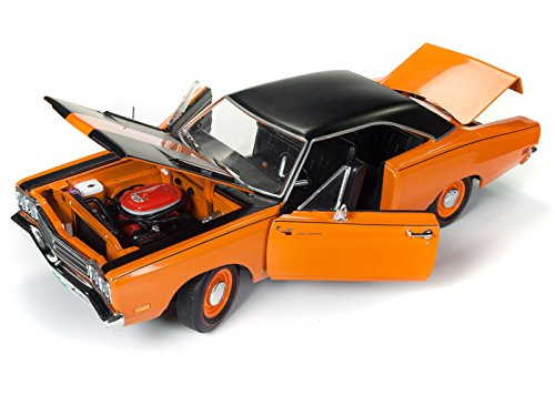 Roadrunner Car - 1969 Plymouth Road Runner Omaha Orange with Black Stripes and Top 50th Anniversary Looney Tunes Limited Edition to 1002 pieces Worldwide 1/18 Diecast Model Car by Autoworld AMM1131