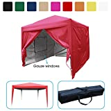 Quictent Privacy 8'x8' EZ Pop Up Party Tent Canopy Gazebo Mesh Curtain 100% Waterproof-7 Colors (Red)