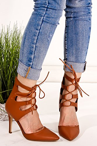 Shoe Magnate Pointed Toe Cutout Design High Tokle Lace Up Front Stiletto Heel Tanpu