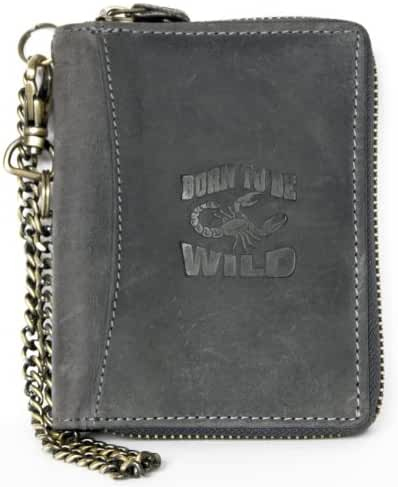 Men's Grey Metal Zip-around Large Genuine Leather Wallet Always Wild with Scorpion