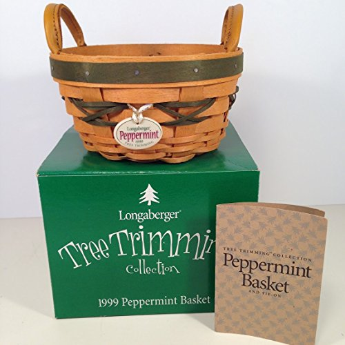 Longaberger PEPPERMINT Tree Trimming Basket GREEN 1999 Christmas Holiday 1st in Series