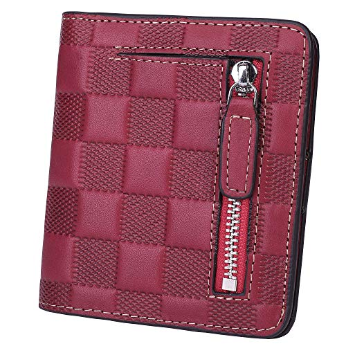 BIG SALE-AINIMOER Women's RFID Blocking Leather Small Compact Bifold Pocket Wallet Ladies Mini Purse with id Window (Checkered - Ladies Wallet Fold Bi