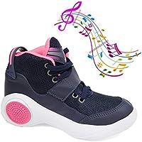 Tenis Musical Infantil Botinho Toca Musica Por Bluetooth - Marinho com Rosa