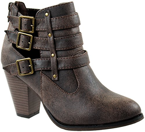 M FOREVER Three 8 and Tan 62 Ankle 's D Women Riding Short Buckled with Botas Camila US Shoes Strap Cafe 5 Chunky Heel RFgrqR