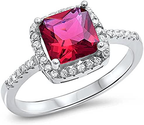 Cushion Cut Simulated Ruby & Cz .925 Sterling Silver Ring Sizes 4-10