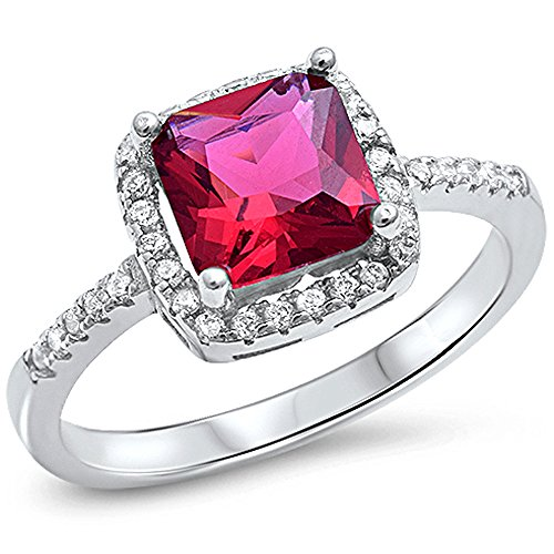 Oxford Diamond Co Cushion Cut Simulated Ruby & Cz .925 Sterling Silver Ring Size 7