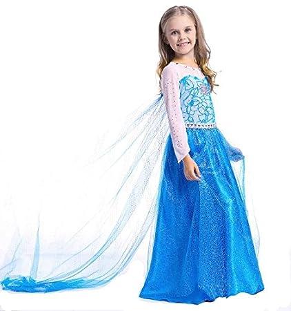 JZK® Cosplay Elsa Vestido de Disfraz Hielo Vestido de ...