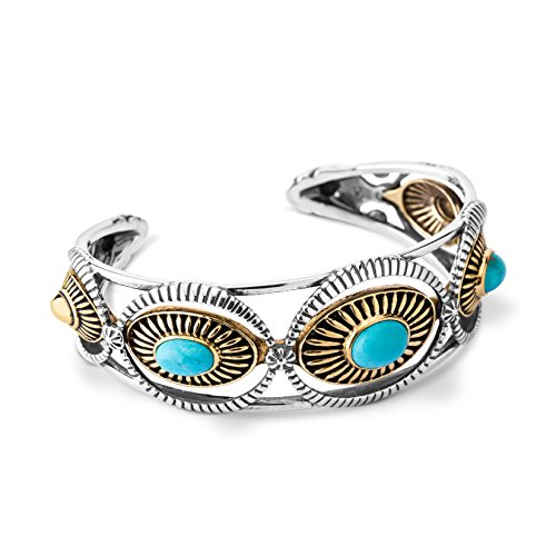Fritz Casuse Sterling Silver Mixed Metal Turquoise Three-stone Cuff Bracelet, Large by American West
