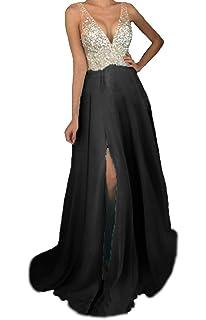 iLovewedding Prom Dresses High Slit V Neck Sequins Tulle Long Evening Gowns ILOVE279