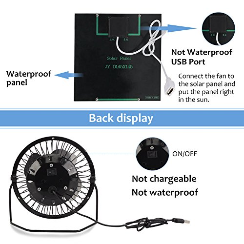 Yosooo 3W USB Solar Panel Powered Mini Portable Fan for Cooling Ventilation Outdoor Home Travelling Chicken House Car Ventilation System 4 Inch by Yosooo (Image #1)