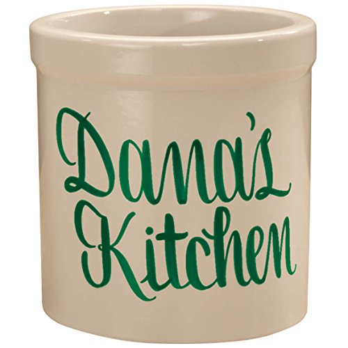 Personalized Stoneware Crock, 2-Quarts, Natural Finish, Customizable Utensil Holder Housewarming Gift, Green