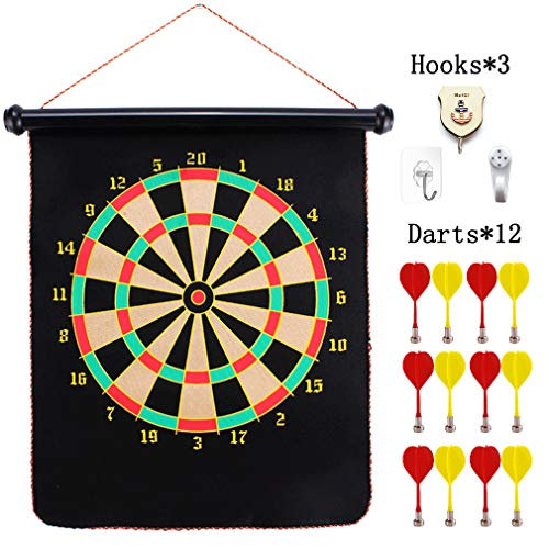 YZXLI Magnetic Dartboard Sets with 12PCS Dart Flights,Two Sided Bullseye Game Magnetic Safety Dart Board