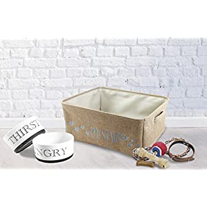 """inifred & Lily Pet Toy and Accessory Storage Bin, Organizer Storage Basket for Pet Toys, Blankets, Leashes and Food in embroidered """"My Stuff"""", Tan"""