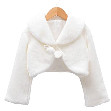 White Fur Stole >> Amazon Com Apxpf Flower Girl White Faux Fur Stole Shawl Wraps Cape