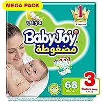 Babyjoy Compressed Diamond pad Diaper, Mega Pack Medium Size 3, Count 68, 6 - 12 KG