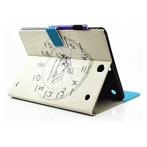 Ukayfe Flip funda de cuero PU para Samsung Galaxy Tab A 9.7 T550, Leather Wallet Case Cover Skin Shell Carcasa Funda para Samsung Galaxy Tab A 9.7 T550 con Pintado Patrón Diseño, Cubierta de la caja F Zodíaco