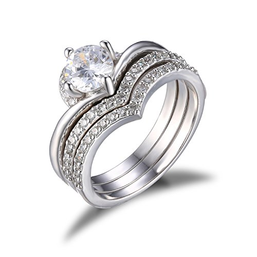 JewelryPalace Womens 1.15ct CZ Engagement Ring Bridal Set 925 Sterling Silver Size 6