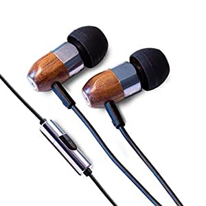 Thinksound ts03+mic 8mm Noise Isolating Wooden Headphone with universal 1 button microphone (Gunmetal/Walnut)