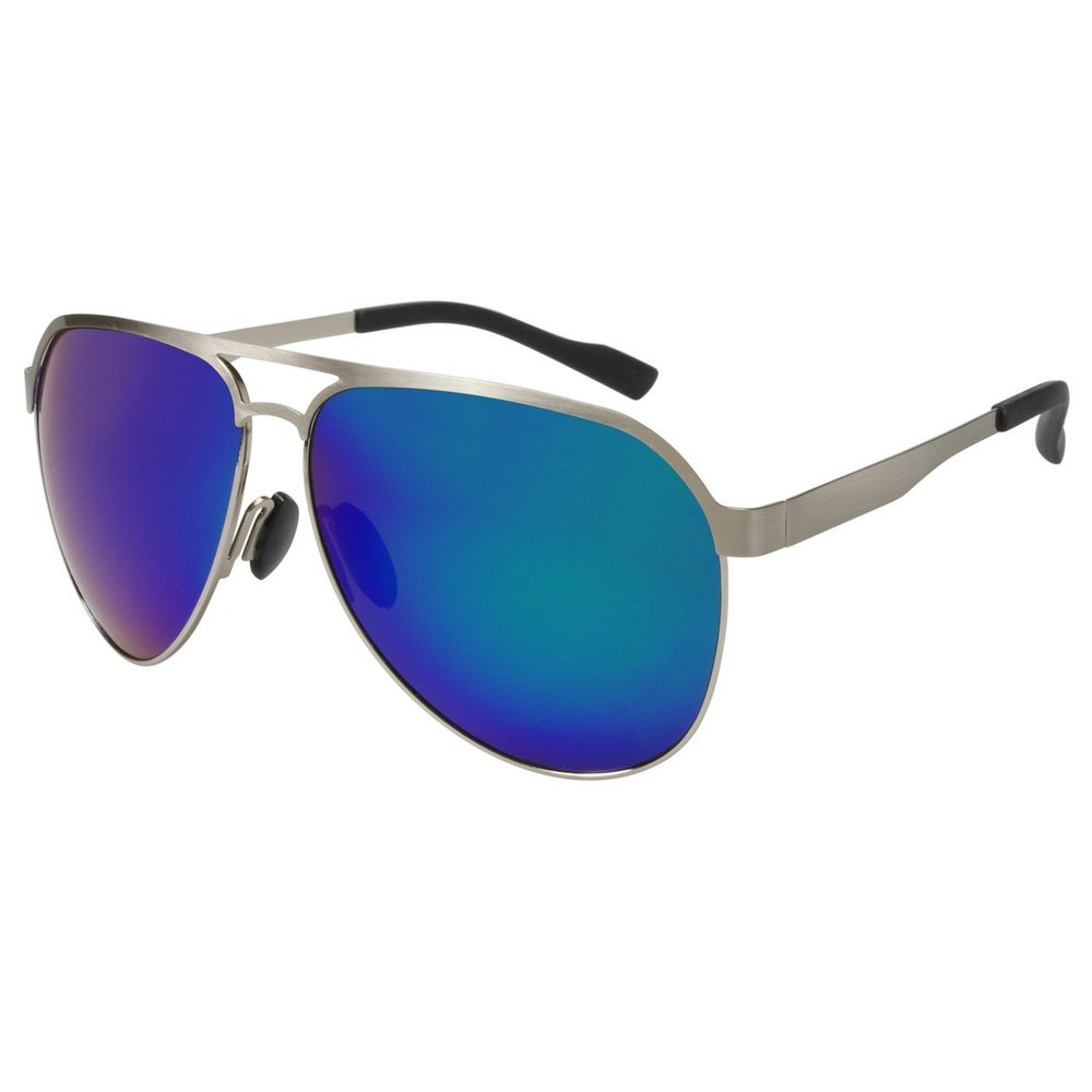 14d85c65ad Amazon.com  Aoron Mens HD Polarized Aviator Sunglasses Outdoor Driving  Fishing Glasses Eyewear Silver Frame Green Mirrored  Clothing
