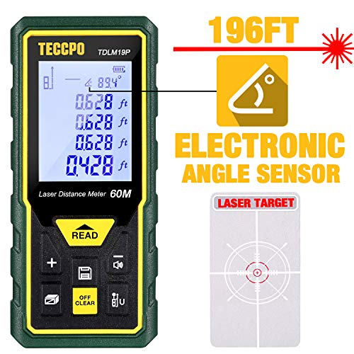 Laser Measure Advanced 196Ft TECCPO, Mute Laser Distance Meter with Electronic Angle Sensor, Backlit LCD, Measure Distance, Area, Volume and Pythagoras, Carry Pouch and Battery Included, TDLM19P (Digital Angle Device Measuring)
