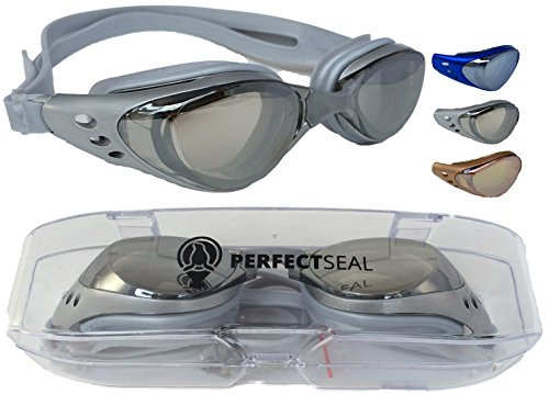 Swimming Goggles-Perfect Seal Harbor 1.0-Best Comfortable Anti Fog Mirrored Swim Goggles for Women and Men with UV Protection on Amazon-Guaranteed Perfect Fit-Scratch & Leak - Face For Glasses Best What Are My