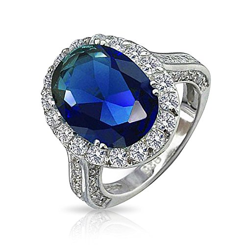 Sterling Silver Vintage Pave (Bling Jewelry Sterling Silver Vintage Style Pave Oval CZ Royal Sapphire Color Engagement Ring - Size 6)
