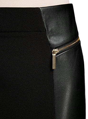 en Collection avec Similicuir Empicements 2900n Dcoratifs Noir Femme Jupe Zips oodji et HdxfqH8t
