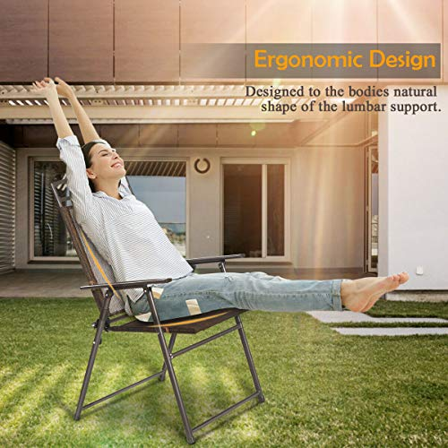 Giantex Set of 4 Patio Folding Sling Chairs Steel Camping Deck Garden Pool Backyard Chair